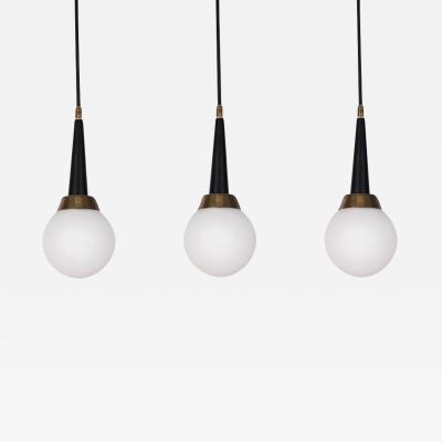 Stilnovo 1960s Stilnovo Brass and Glass Pendants