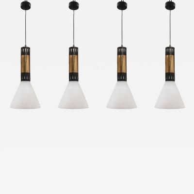 Stilnovo 4 Pendants model 1135 by Stilnovo Italy 60