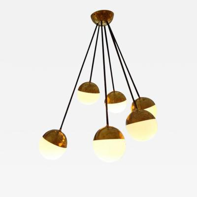 Stilnovo A Six Light Ceiling Mounted Mid Century Chandelier by Stilnovo