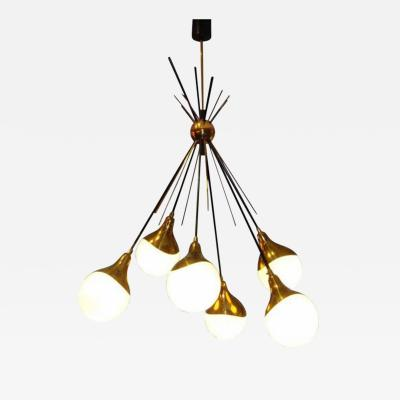 Stilnovo A Six Light Modernist Chandelier by Stilnovo