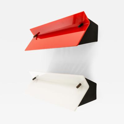 Stilnovo A pair of red and white plexiglass and metal wall lamps by Stilnovo 1960s