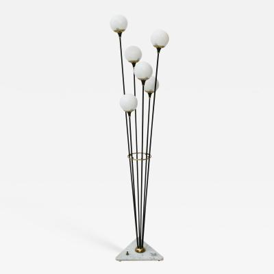 Stilnovo Alberello by Stilnovo Black Lacquered Brass and Marble Floor Lamp Italy 1950s