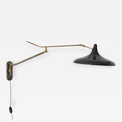 Stilnovo Articulated Brass sconce with Black Shade