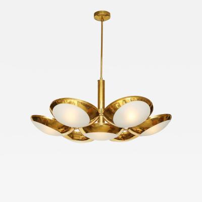 Stilnovo Brass Suspension Light with Seven Glass Domes