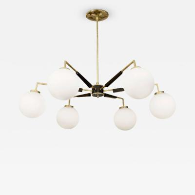 Stilnovo Brass and Black Enamel Stilnovo Style Chandelier with Opal Glass Globes