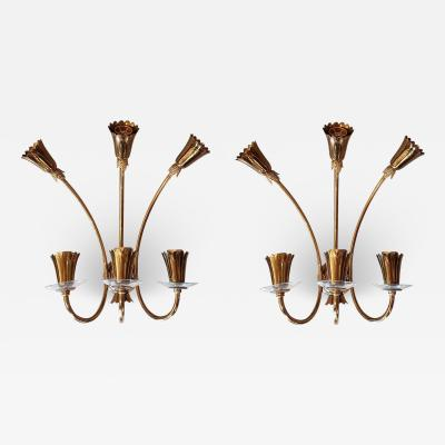 Stilnovo Brass glass mid century modern sconces Stilnovo style a pair