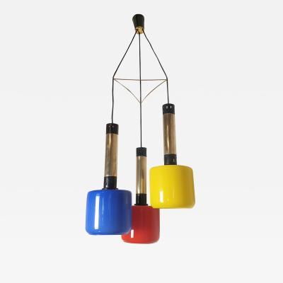 Stilnovo Colored Glass Brass Mid Century Modern Pendant Chandelier Stilnovo Italy 60s