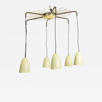 Stilnovo Dazzling Italian Ivory and Brass Chandelier Stilnovo Spider Sputnik 1960s