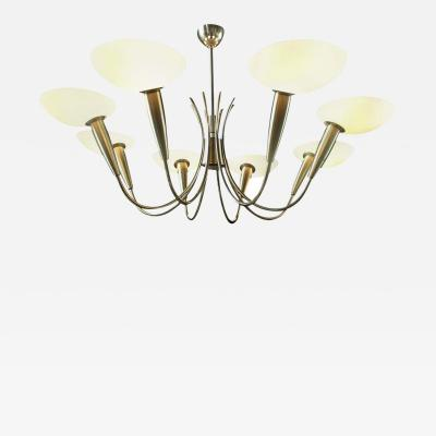 Stilnovo Elegant Brass and Art Glass Chandelier Italy 1950s