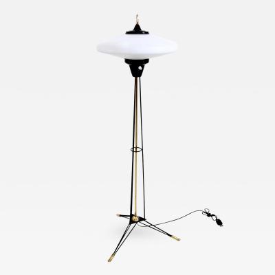 Stilnovo Elegant Floor Lamp with Opaline Glass Shade by Stilnovo Italy 1950s