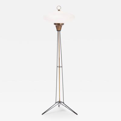 Stilnovo Elegant Italian Midcentury Opaline Glass and Iron Floor Lamp