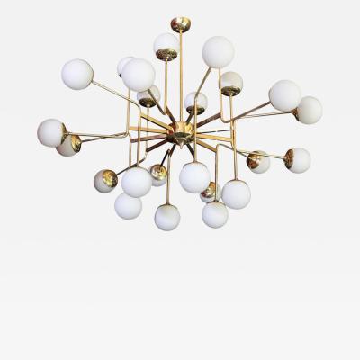 Stilnovo Exceptional Huge Brass Chandelier with Glass Globes in the Manner of Stilnovo