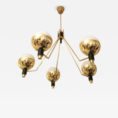 Stilnovo Five Arm Chandelier Attributed to Stilnovo Italy 1960s