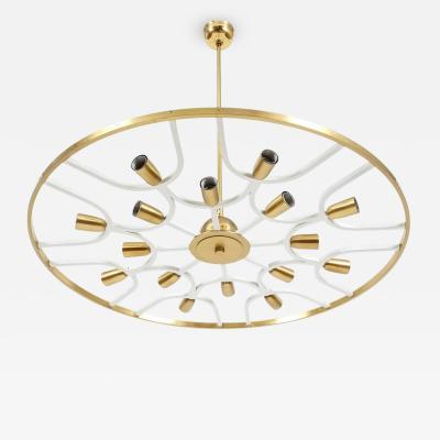Stilnovo Grand Ornamental Italian Brass Chandelier