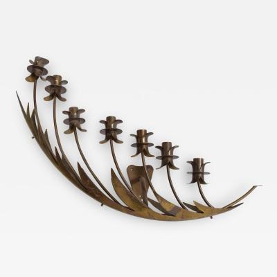 Stilnovo ITALY Stilnovo Airy Wall Sconce Seven Arm Floating Flower Petal Lamp Brass 1950s