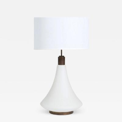 Stilnovo Italian Frosted Glass and Brass Lamp circa 1950s