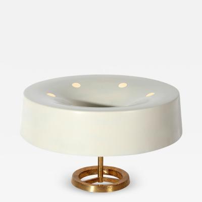 Stilnovo Italian MidCentury Table Lamp white by Stilnovo in brass Italy 1950s