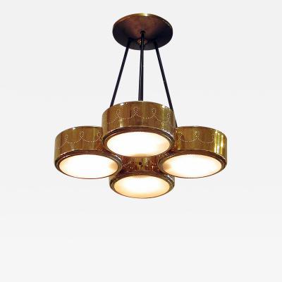 Stilnovo Italian Modern Brass ad Bubble Glass 4 Light Chandelier