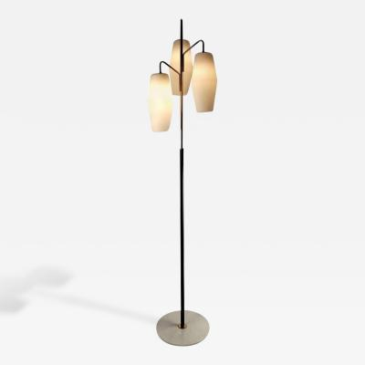 Stilnovo Italian Modernist Stilnovo Floor Lamp with Frosted Glass Shades and Marble Base