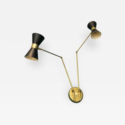 Stilnovo Italian Two Armed Adjustable Metal Wall Lamp with Brass Elements