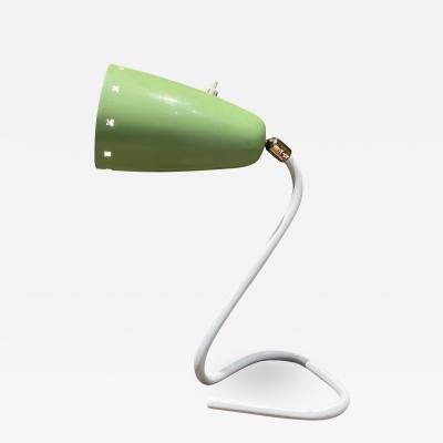 Stilnovo Italy Modern Chartreuse Cone Desk Table Lamp Sculptural Base in White 1950s