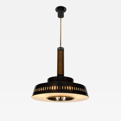 Stilnovo Large 1950s Stilnovo Model 1157 Brass and Glass Suspension Light