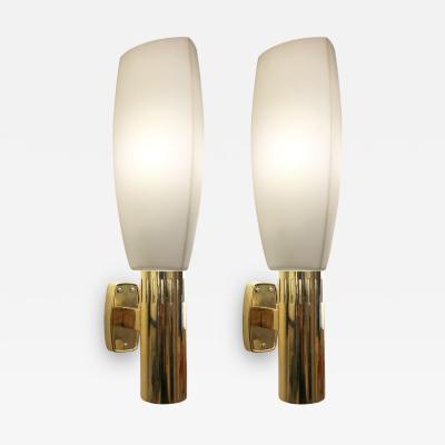 Stilnovo Large Brass and Glass Stilnovo Sconces Italy 1960s