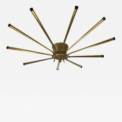 Stilnovo Large Italian Midcentury Brass Sunburst or Star Flush Mount Pendant Stilnovo