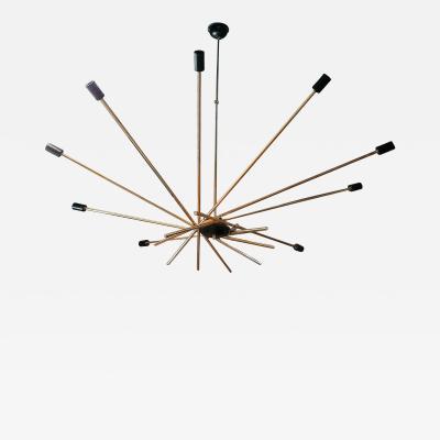 Stilnovo Large Italian Sputnik Brass Chandelier Stilnovo style 1960s