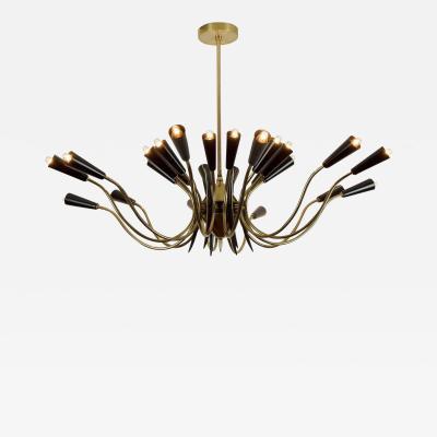 Stilnovo Massive 24 Arm Stilnovo Style Brass and Black Enamel Chandelier