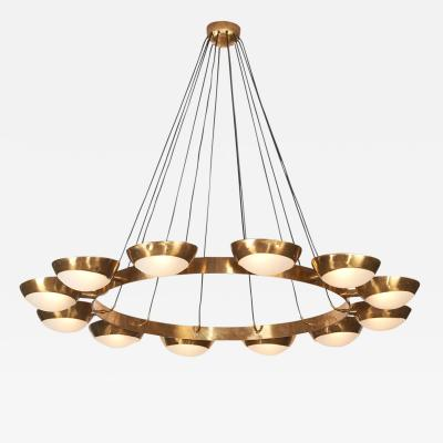 Stilnovo Metal Stilnovo Circular Suspension Chandelier with Twelve Half Globe Shades