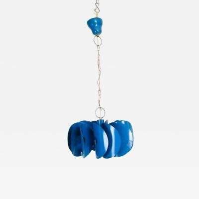 Stilnovo Mid Century Mad AZURE BLUE Hanging Light Fixture ITALY 1960s