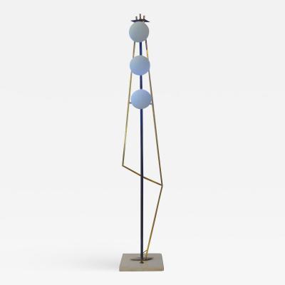 Stilnovo Mid Century Modern Geometric Brass Floor Lamp attributed to Stilnovo