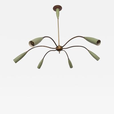Stilnovo Mid Century Modern Italian Chandelier Six Arms Olive Green Brass Sputnik Era