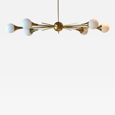 Stilnovo Mid Century Modern Italian Stilnovo Style Brass and Glass Sputnik Chandelier