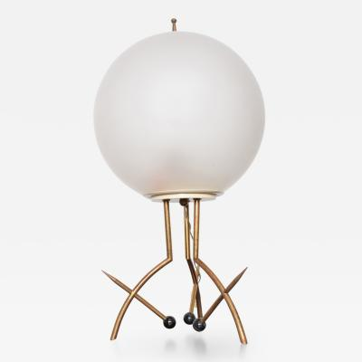 Stilnovo Mid Century Modern Italian Table Lamp with Oversize Frosted Glass Shade