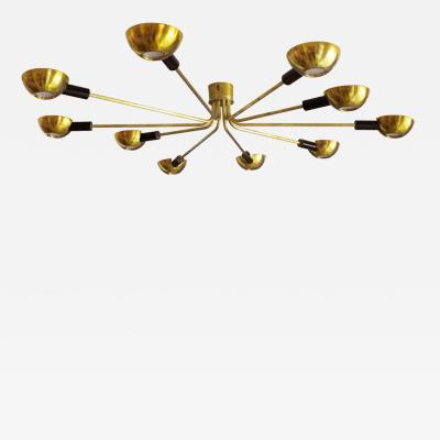 Stilnovo Mid Century Modern by Stilnovo Brass Italian Flush Mounted Ceiling Light