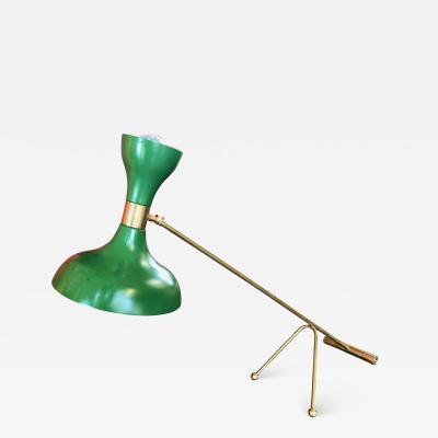 Stilnovo Mid Century Stilnovo Adjustable Green Table Lamp in Brass Italy 1960s