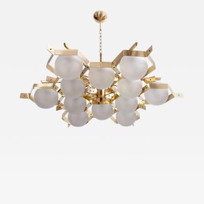 Stilnovo Monumental Brass and Glass Chandelier Attributed to Stilnovo