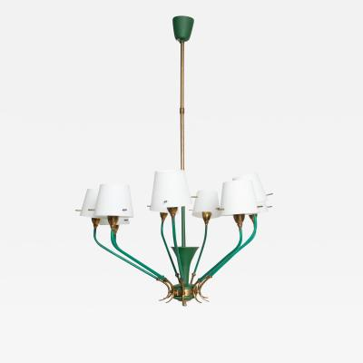 Stilnovo Nine Arm Chandelier Emerald Green Patinated Brass Glass Stilnovo ITALY 1950s