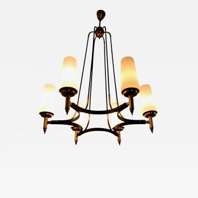 Stilnovo Opaline Glass Brass and Varnished Iron Chandelier by Stilnovo Italy 1950s