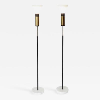 Stilnovo PAIR OF STILNOVO FLOOR LAMPS GLASS DIFFUSERS MARBLE BASE
