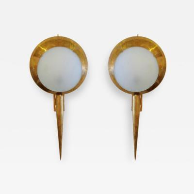 Stilnovo Pair Italian Modern Brass and Opalescent Glass Wall Lights Stilnovo