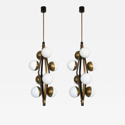 Stilnovo Pair Stilnovo Brass Eight Globe Pendant Chandeliers
