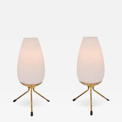 Stilnovo Pair of 1950s Glass Brass Tripod Table Lamps Attributed to Stilnovo