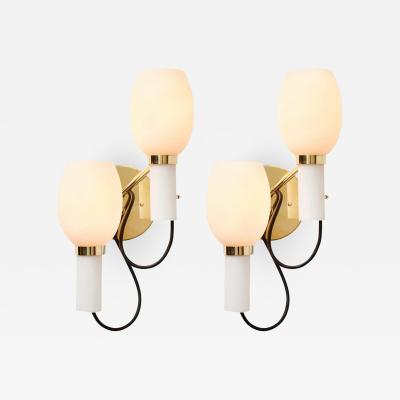 Stilnovo Pair of 1950s Italian Double Sconces in the Manner of Stilnovo