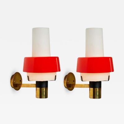 Stilnovo Pair of 1950s Stilnovo Model 2079 1 Brass and Glass Sconces with Original Labels