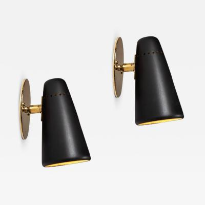 Stilnovo Pair of 1950s Stilnovo Sconces in Black Brass