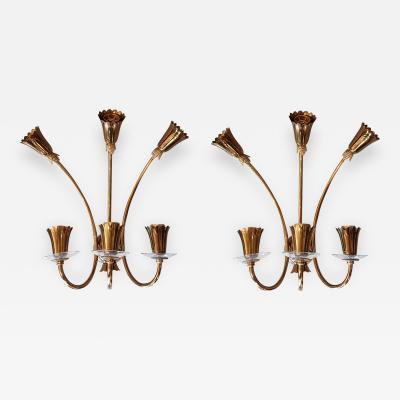Stilnovo Pair of Brass Glass Mid Century Modern Sconces Stilnovo style
