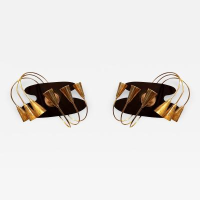 Stilnovo Pair of Brass Italian Mid Century Modern Wall Sconces by Stilnovo